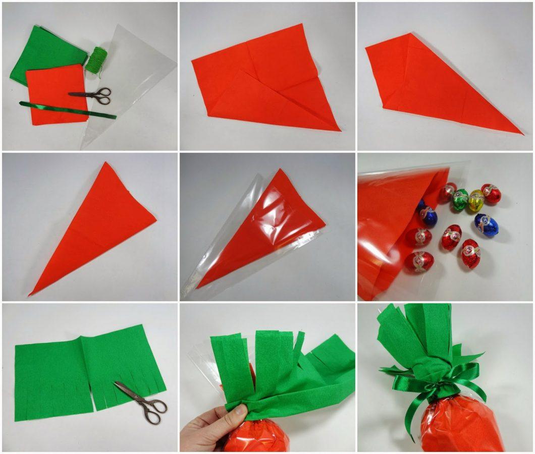 553a3d369 Solamente vais a necesitar bolsitas de plástico triangulares, servilletas  de papel en naranja y verde, cuerda para atarlas y cinta verde para el  lacito… y ...