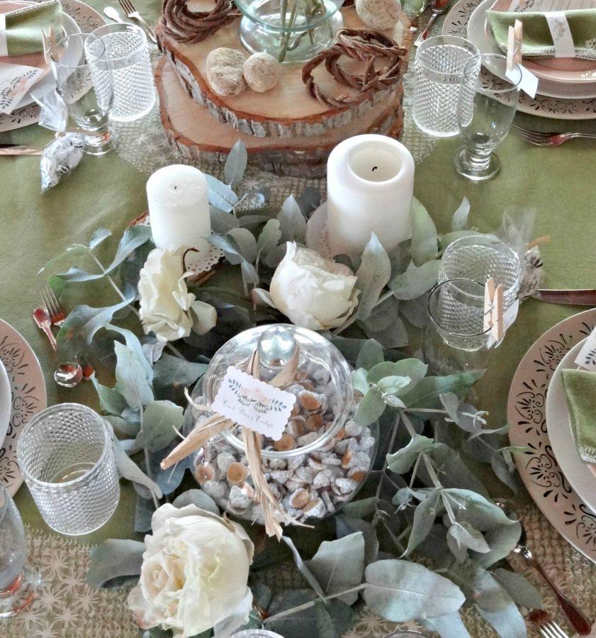 fiesta flores y eucalipto