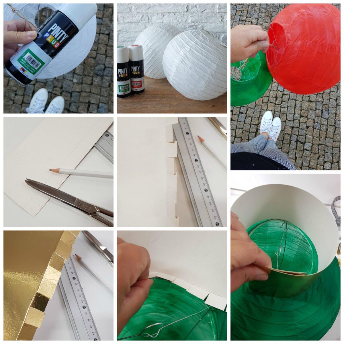 bolas con lámparas de papel